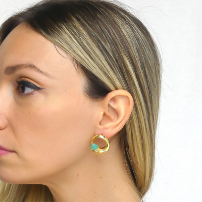 Stud earrings with amazonite crystals and zircons