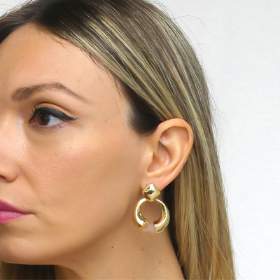 Drop earrings with rose quartz and moonstone crystals