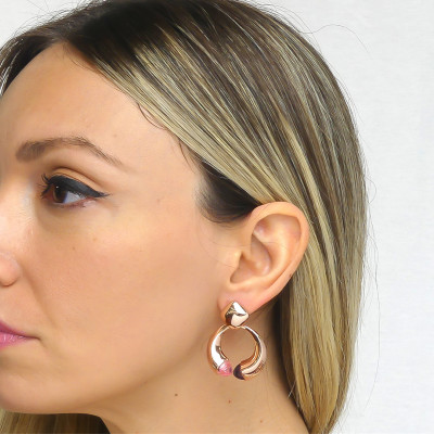 Drop earrings with morganite and amethyst crystals