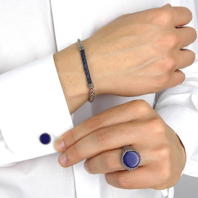 Cufflinks shot with blue agate
