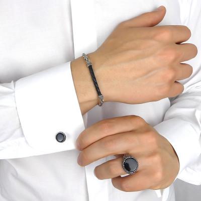 Cufflinks with black agate