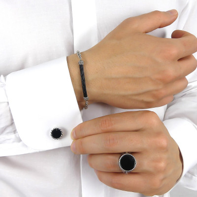 Twisted thread cufflinks with black agate