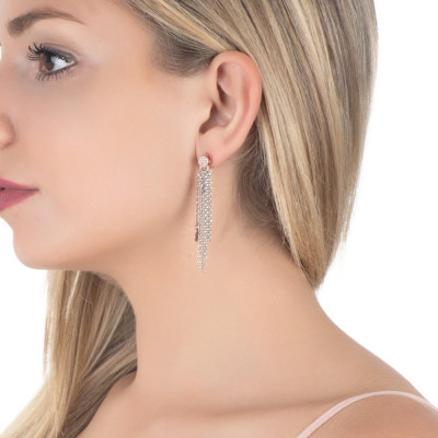 Earrings Pendant bicolor with zircons