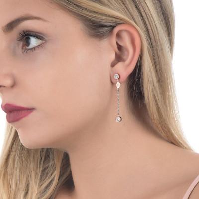 Earrings bicolor with zircon diamond cut final