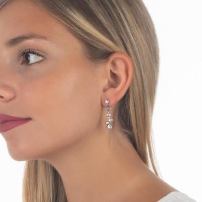 Cluster earrings of zircons diamond cut