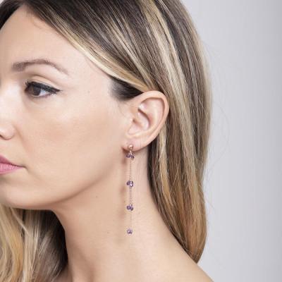 Earrings with zircons amethyst pendant