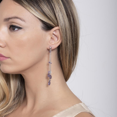 Earrings with chains pendants, zircons and Swarovski purple