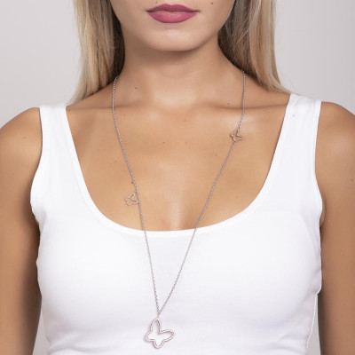 Necklace in pink steel with a pendant butterfly strass