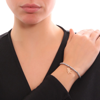 Bracciale beads bicolor con profilo di bimbo e zircone