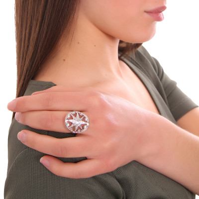 Rhodium-plated ring with wind rose and Swarovski