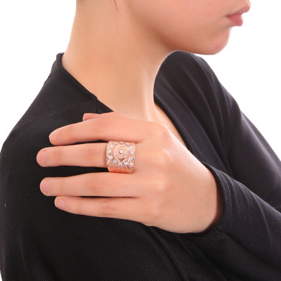 Rose Gold Plated Banded Flower Ring with Swarovski