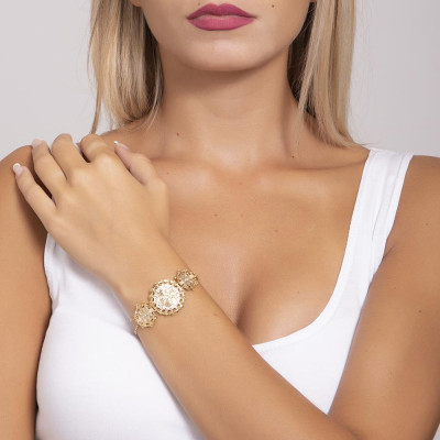 Plated Bracelet yellow gold with central decoration in bas-relief and Swarovski