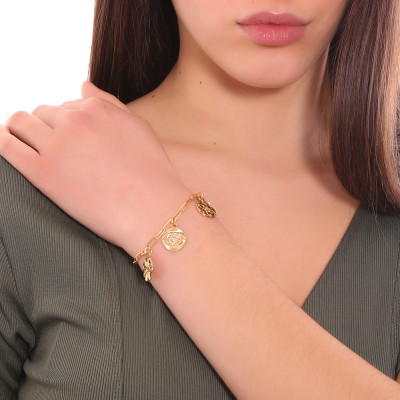 Yellow gold plated bracelet with charms and Swarovski crystals