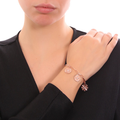 Rose gold plated bracelet with charms and Swarovski crystals