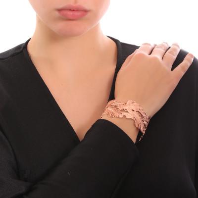 Rose gold plated rigid bracelet with oak leaf decoration