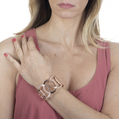 Rose gold plated bracelet with interweaving