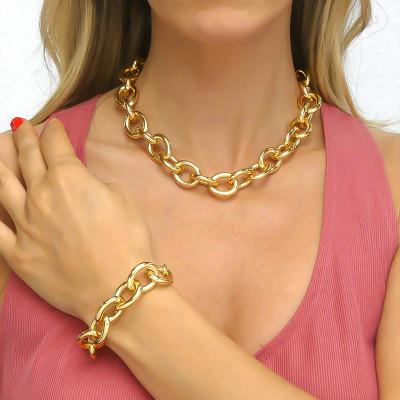 Yellow gold plated medium chain bracelet