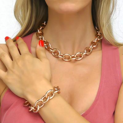 Rose gold plated medium chain bracelet