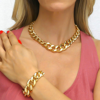 Yellow Bronze Degraded Curb Bracelet