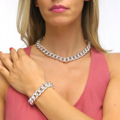 Silver Medium Curb Bracelet
