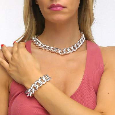 Large silver curb bracelet