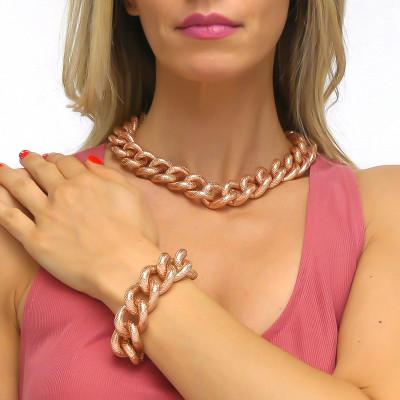Pink cotroned curb bracelet
