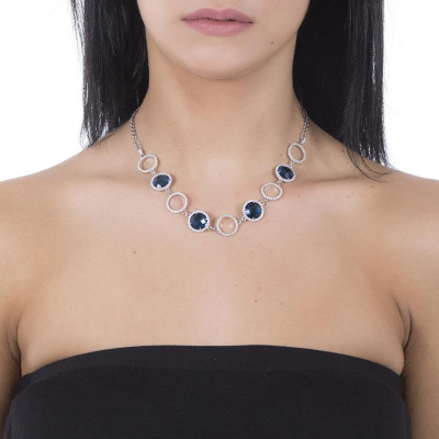 Necklace double wire with crystals Montana and zircons