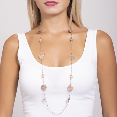 Long necklace gold plated pink with decorations of the Etruscans and Swarovski