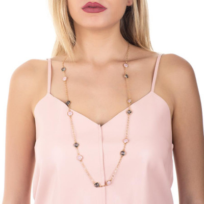 Long necklace with crystals fumèe pink quartz milk