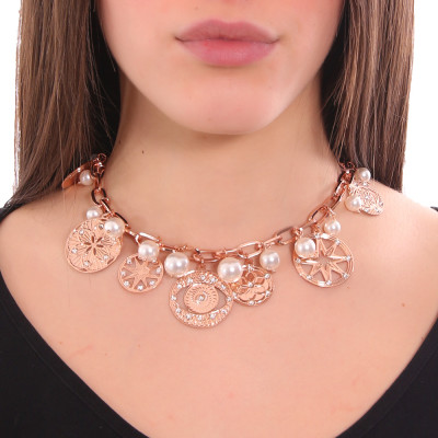 Rose gold plated necklace with charms, crystals and Swarovski pearls