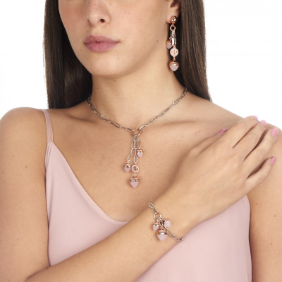 Y necklace with rose quartz colored pyramidal crystals