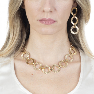Yellow gold plated necklace with circular modules
