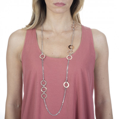 Long bicolor necklace with circular decorations