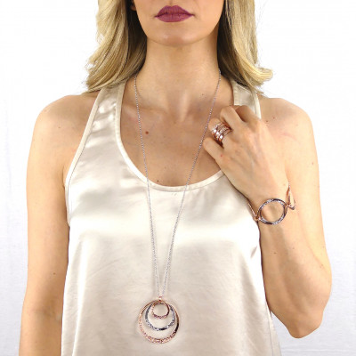 Two-tone glue with mobile concentric pendant and Swarovski