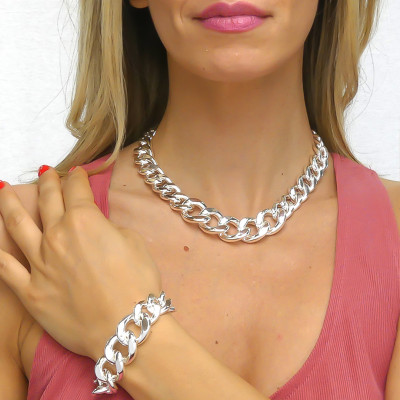 Silver degraded gourmette necklace