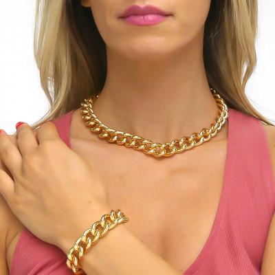 Yellow bronze medium curb necklace