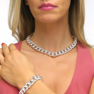 Silver medium gourmette necklace
