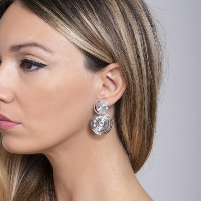 Earrings with pendant of inspiration Maya and Swarovski