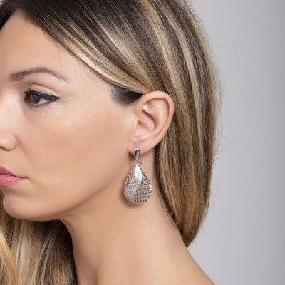 Earrings with decoration in electrofusion and glitter