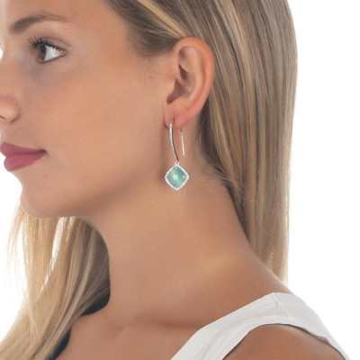 Earrings with hook monachella, crystal green mint and zircons