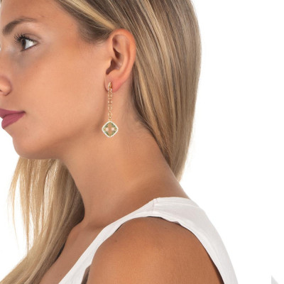 Earrings with pin of zircons and chrysolite pendant