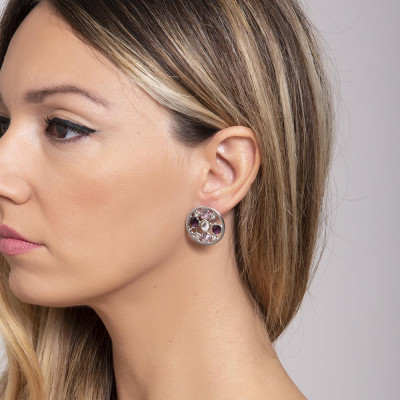 Earrings rodiati lobe with Swarovski