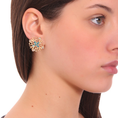 Lobe coral earrings and green Swarovski