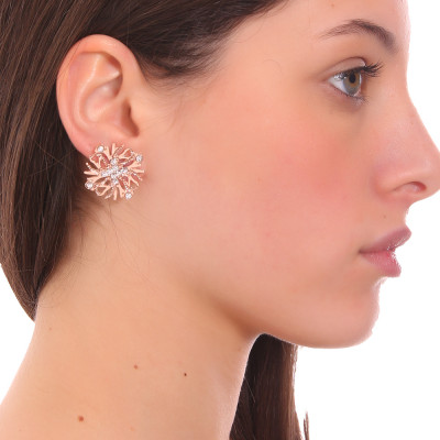 Coral lobe earrings and Swarovski crystal