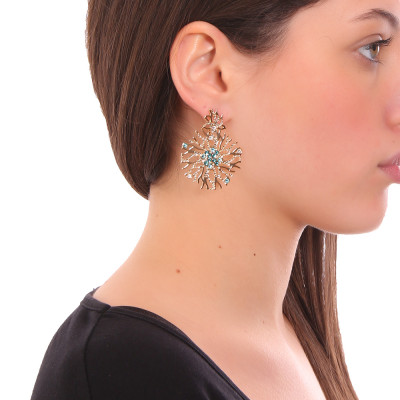 Coral and green Swarovski earrings