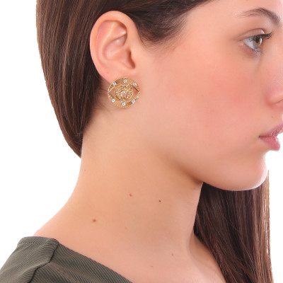 Yellow gold plated eye of Horus earring with Swarovski