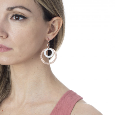 Rose gold plated earrings with concentric circular pendant