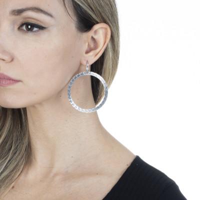 Rhodium-plated hoop earrings