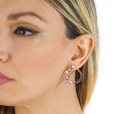 Earrings with Swarovski crystal, vintage rose and white pearl cabochon