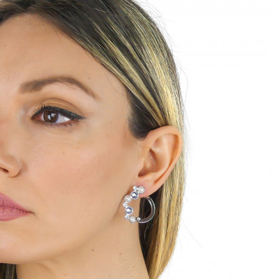 Stud earrings with Swarovski crystal, blue shade and white pearl cabochon